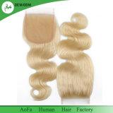 Russisches natürliches blondes Spitze-Schliessen der Menschenhaar-Qualitäts-100%