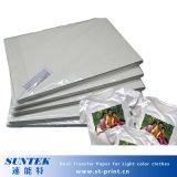 Papier de transferts thermiques de jet d'encre de la taille A4 pour le textile de couleur légère