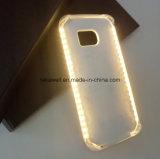 携帯電話のアクセサリの卸し売り電池SelfieはSamsung S5/S6/S7の例のための点滅LEDの電話箱をつける