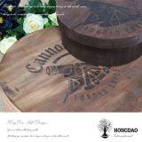 Hongdao a personnalisé le chocolat rond en bois Box_E de gâteau de secteur de biscuit de nourriture