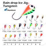 Plantilla al por mayor del hielo del tungsteno de la gota de lluvia de la pesca del hielo de la alta calidad