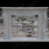 Cheminée blanche Mfp-114 de Carrare de granit en pierre de marbre d'intérieur