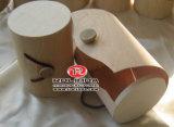 Unfinished forma cilíndrica caja de madera con el logotipo