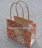 Bolsa de papel reciclada de la Navidad del brillo del bolso del regalo del papel de Brown Kraft