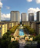 Plantas arquitectónicas de nível elevado da paisagem da rendição com alta qualidade