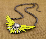 Nuevas alas del diseño de la manera con el collar de imitación del encadenamiento de la joyería del Rhinestone
