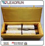 포도주 가죽 Specail 서류상 공단 삽입 (YLA42)를 가진 나무로 되는 색칠 스크롤 박스