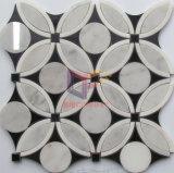 Tuile de mosaïque de marbre de jet d'eau blanc de mélange de noir de modèle de puzzle (CFW70)