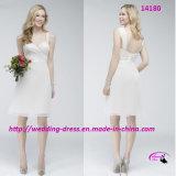 Kurzes weißes Nizza Brautjunfer-Kleid mit Shirred