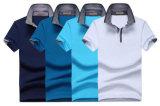 人の3Dの刺繍の単一のジャージーファブリック習慣180GSM 97の綿3のスパンデックスのポロのTシャツ