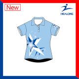 Healongのベストセラーの染料によって昇華させる男女兼用のポロシャツ