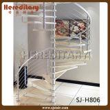 Стальная винтовая лестница с деревянными сбереженияами космоса проступи (SJ-3008)