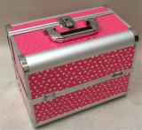 Caso cosmético cor-de-rosa de alumínio profissional da exportação/caso CMC-182 da composição
