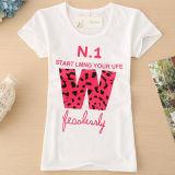 T-shirt redondo das mulheres do algodão da garganta da luva curta