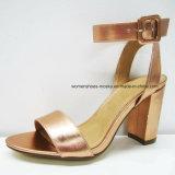 Zapatos fornidos calientes del alto talón de la manera de las mujeres del diseño simple de la venta con la punta del pío