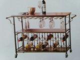 Étalage acrylique en verre de vin de chariot de roulement de caddie de Fodable de crémaillère de service de vin