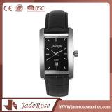 Reloj de cuero negro cuadrado del cuarzo de la manera para las muchachas
