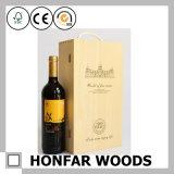 2 Verpakkende Doos van de Wijn van de Doos van de Wijn van flessen de Houten Houten voor Gift