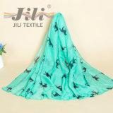 柔らかいボイルに基づくプリントHijabの美しい動物スカーフ