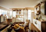 Modules de cuisine italiens en bois solide de type avec la partie supérieure du comptoir de quartz
