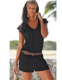Culotte occasionnelle élastique de poche sans manche de courroie de collet de V de 2017 femmes d'été (17011)