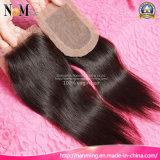 Polegada brasileira Brown médio da polegada 20 da polegada 18 da polegada 16 da polegada 14 da polegada 12 da polegada 10 do cabelo reto 8 livre/fechamento baixo de seda do meio/três porções