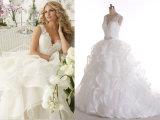 V Neckline Organzaラインか王女またはレースの花嫁のウェディングドレス