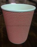 Gewellte Papierkaffeetassen/Zoll druckten Wegwerf-PET Kräuselung-Wand-12oz Isolierkaffee-Papiercup mit Kappe