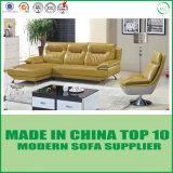 Modernes einfaches Leder Sofa stellte mit hölzerner Unterseite ein
