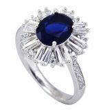 De nieuwe Solitaire Saffier Blauw CZ van de Ring van CZ van het Ontwerp Echte Zilveren