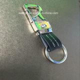 Trousseau de clés en cuir réel en métal fait sur commande en gros d'usine pour la promotion