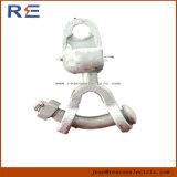 Lig a braçadeira galvanizada cabendo da extremidade da esfera de aço