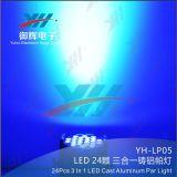 Illuminazione DMX512 RGB 24X3w 3 della fase di concerto in 1 indicatore luminoso di PARITÀ della fase del LED