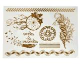 Autoadesivo provvisorio impermeabile metallico del tatuaggio della catena di fiore della piuma