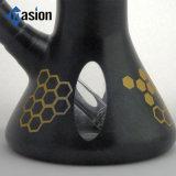 Tubo de agua de cristal recto negro con el modelo del panal (POR 007)