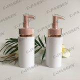 Frasco branco plástico do animal de estimação com a bomba cor-de-rosa da loção para o empacotamento do cuidado de pele (PPC-PB-064)