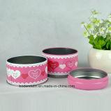 Kundenspezifisches Metallrundes Süßigkeit-Zinn, zwei des Süßigkeit-Schichten Zinn-, rosafarbenes doppelte Schicht-Süßigkeit-Zinn