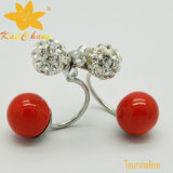 女性のための石のイヤリングが付いているTmer-001赤いカラー10mm方法電気石