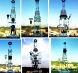 Großhandelsarm-Baum Perc Recycler-Inline-Blumen-Matrix-hohes grösseres Recycler-Tabak-hohes Farben-Filterglocke-Glasfertigkeit-Aschenbecher-Glasrohr-unbesonnene Becher-Trinkwasserbrunnen-Ölplattformen