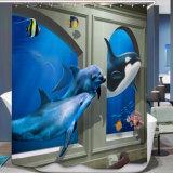 Tenda di acquazzone impermeabile della stanza da bagno del tessuto del poliestere di stampa di Digitahi della balena