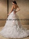 weg von Schulter-Strand-Brautkleid-wulstigen Hochzeits-Kleidern