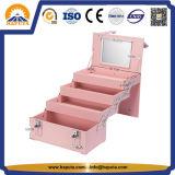 Grande casella di memoria di caso di bellezza del cuoio dello spazio con 4 cassetti (HB-6358)