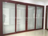 Porta deslizante de alumínio interior ou exterior de Woodwin de vidro Tempered