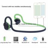 Écouteurs sans fil dans l'écouteur de Bluetooth de sport d'oreille confortable pour la musique (Noir-verte)