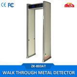 温度の金属探知器を通る歩行