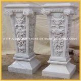 Colonna di pietra di marmo bianca della colonna della scultura per la decorazione domestica