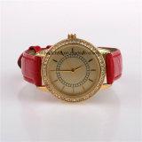 Reloj de lujo del diamante de las mujeres con la venda de cuero