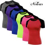 Abiti sportivi Nt8023 della camicia di ginnastica del Long Top Fitness Clothing di Neleus della signora