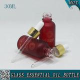 botella de petróleo esencial de cristal cosmética helada rojo oscuro 30ml