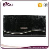 Carpeta negra del embrague del marco del metal del grano del cocodrilo, alta calidad de la carpeta del cuero genuino de la mujer
